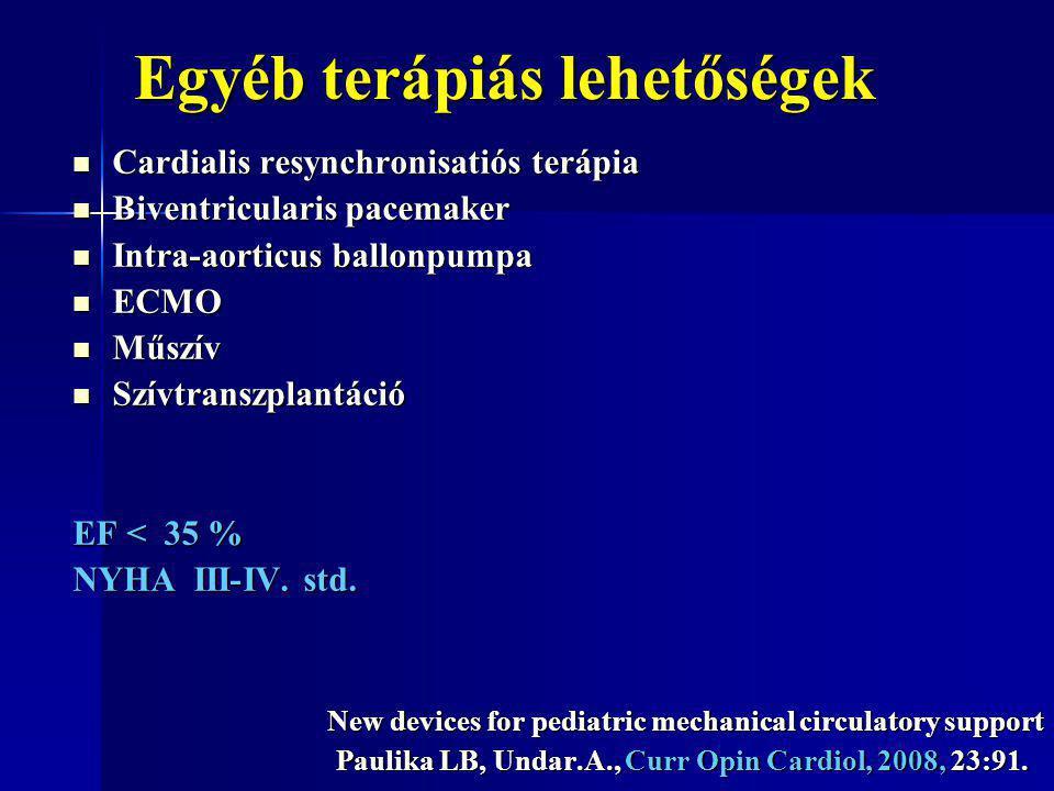 Egyéb terápiás lehetőségek Cardialis resynchronisatiós terápia Cardialis resynchronisatiós terápia Biventricularis pacemaker Biventricularis pacemaker