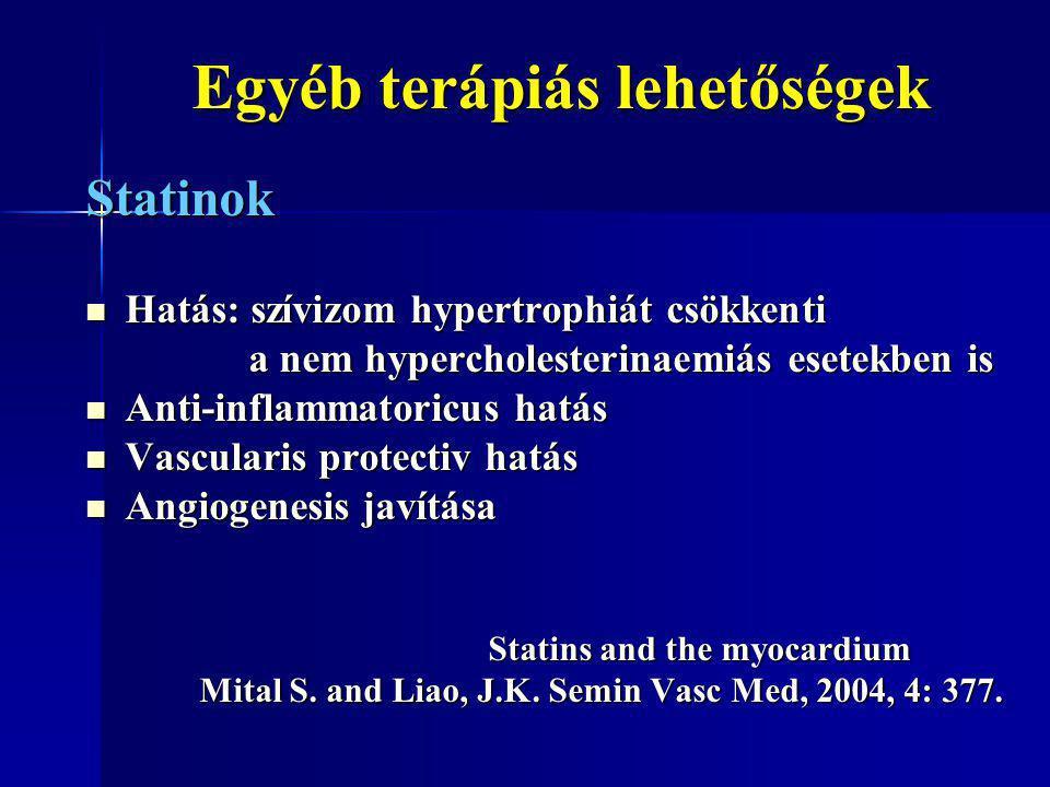 Egyéb terápiás lehetőségek Egyéb terápiás lehetőségek Statinok Hatás: szívizom hypertrophiát csökkenti Hatás: szívizom hypertrophiát csökkenti a nem h