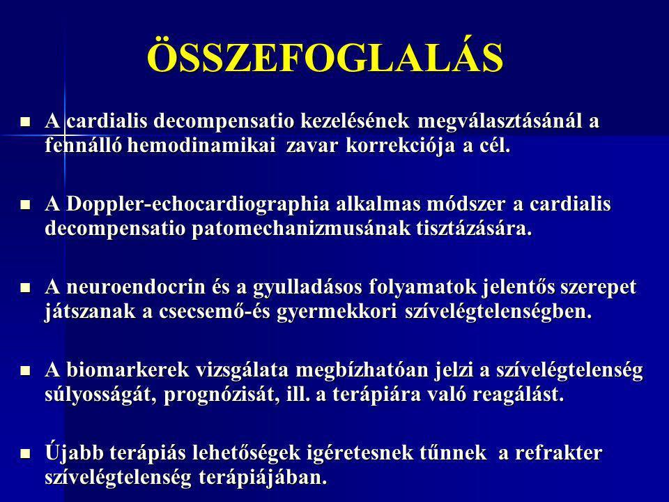 ÖSSZEFOGLALÁS ÖSSZEFOGLALÁS A cardialis decompensatio kezelésének megválasztásánál a fennálló hemodinamikai zavar korrekciója a cél. A cardialis decom
