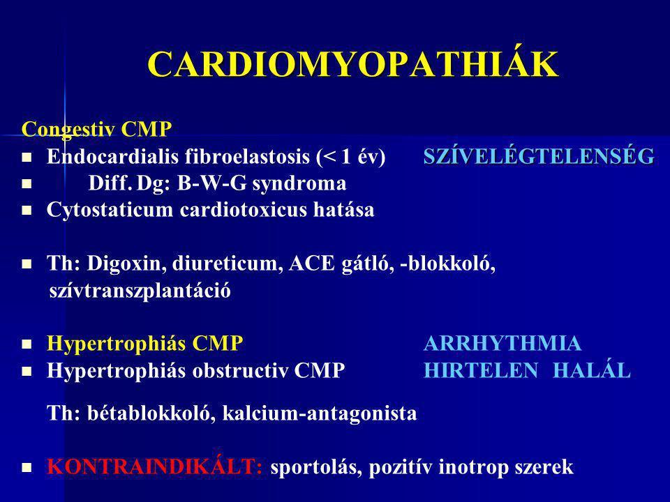 CARDIOMYOPATHIÁK CARDIOMYOPATHIÁK Congestiv CMP SZÍVELÉGTELENSÉG Endocardialis fibroelastosis (< 1 év) SZÍVELÉGTELENSÉG Diff. Dg: B-W-G syndroma Cytos