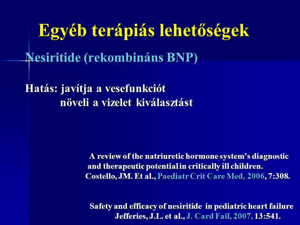 Egyéb terápiás lehetőségek Nesiritide (rekombináns BNP) Hatás: javítja a vesefunkciót növeli a vizelet kiválasztást növeli a vizelet kiválasztást A re