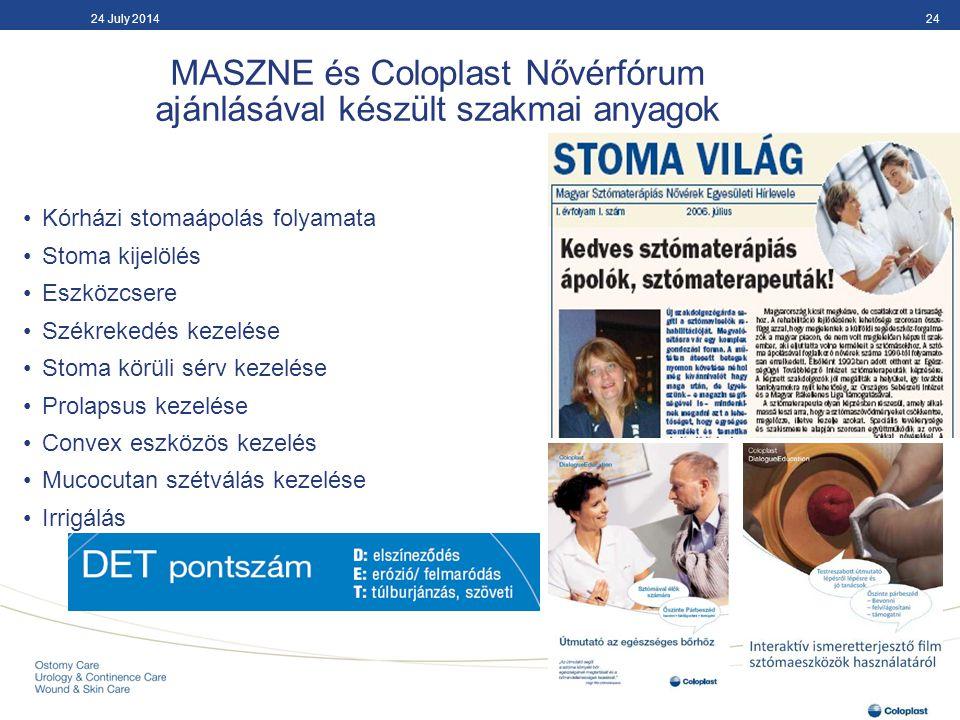 MASZNE és Coloplast Nővérfórum ajánlásával készült szakmai anyagok 2424 July 2014 Kórházi stomaápolás folyamata Stoma kijelölés Eszközcsere Székrekedé