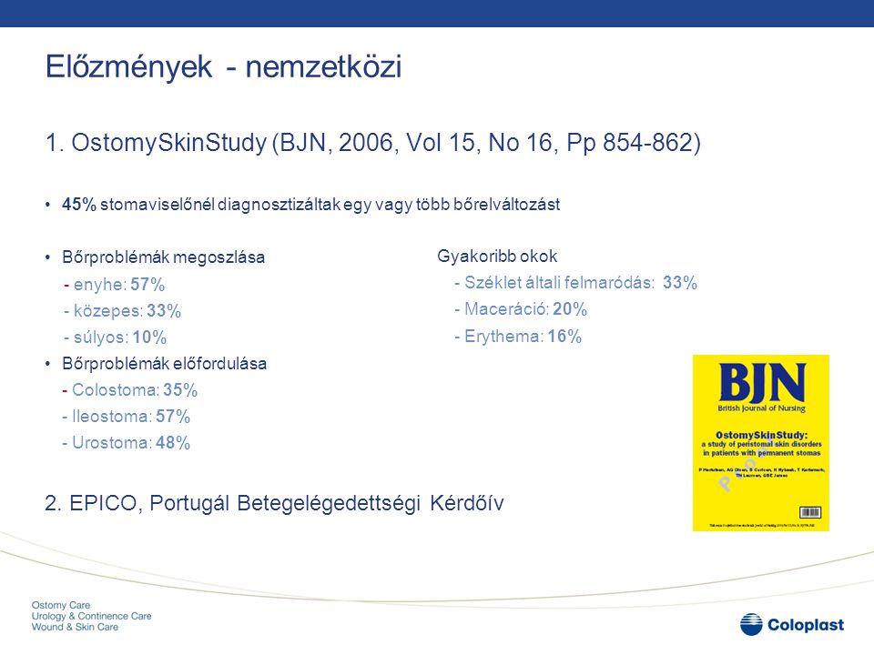 Előzmények - nemzetközi 1. OstomySkinStudy (BJN, 2006, Vol 15, No 16, Pp 854-862) 45% stomaviselőnél diagnosztizáltak egy vagy több bőrelváltozást Bőr