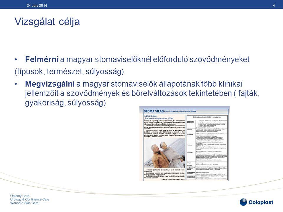 Definíciók Szövődmények Dermatitis Peristomalis sérv Mechanikus trauma Caput medusae Maceratio Necrosis Mucocutan separatio Rectractio Prolapsus Stenosis 524 July 2014