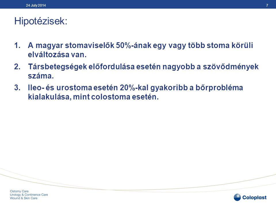 Hipotézisek: 1.A magyar stomaviselők 50%-ának egy vagy több stoma körüli elváltozása van. 2.Társbetegségek előfordulása esetén nagyobb a szövődmények