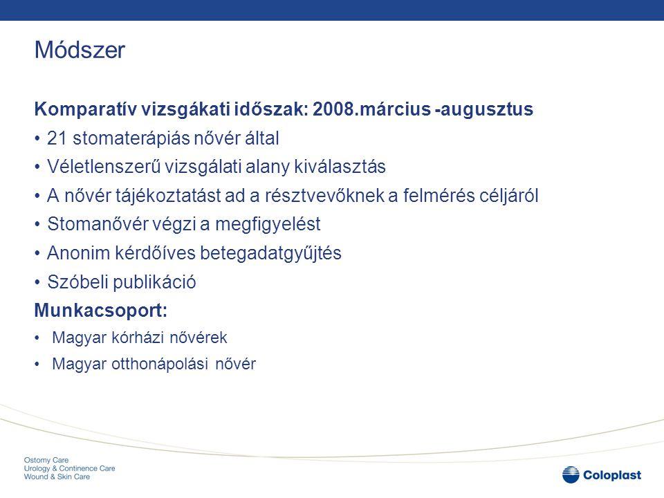 Módszer Komparatív vizsgákati időszak: 2008.március -augusztus 21 stomaterápiás nővér által Véletlenszerű vizsgálati alany kiválasztás A nővér tájékoz