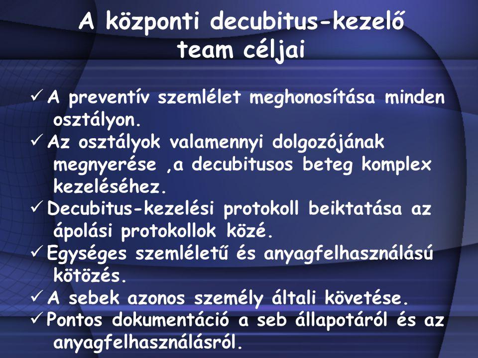 A központi decubitus-kezelő team céljai A preventív szemlélet meghonosítása minden osztályon. Az osztályok valamennyi dolgozójának megnyerése,a decubi