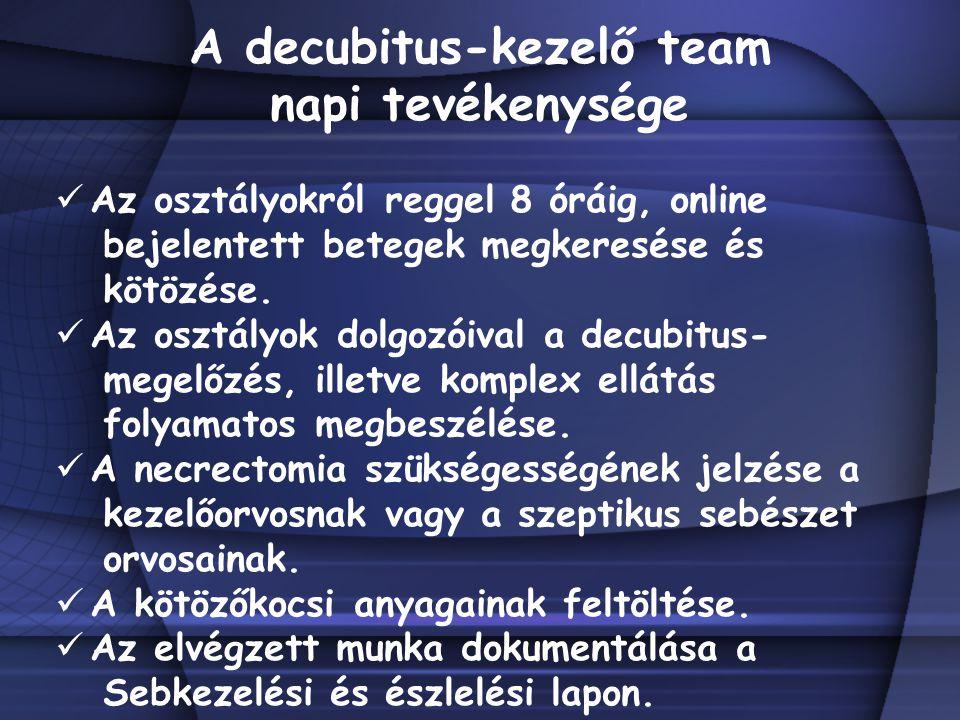 A decubitus-kezelő team napi tevékenysége Az osztályokról reggel 8 óráig, online bejelentett betegek megkeresése és kötözése. Az osztályok dolgozóival