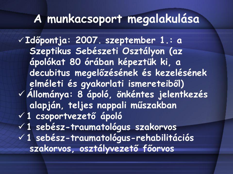 A munkacsoport megalakulása Időpontja: 2007. szeptember 1.: a Szeptikus Sebészeti Osztályon (az ápolókat 80 órában képeztük ki, a decubitus megelőzésé
