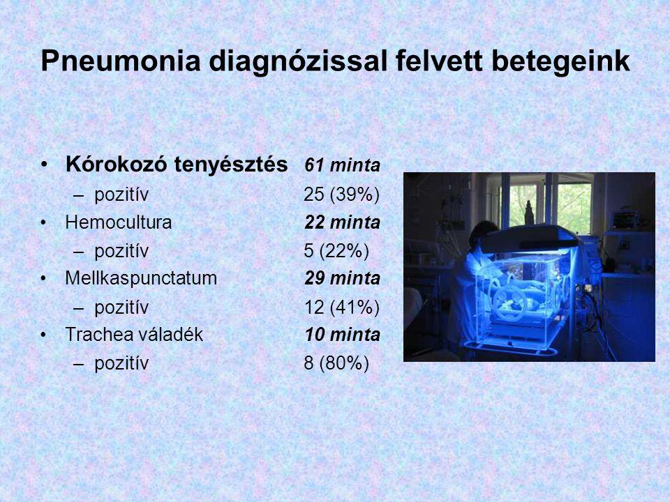 Pneumonia diagnózissal felvett betegeink Kórokozó tenyésztés 61 minta –pozitív 25 (39%) Hemocultura22 minta –pozitív 5 (22%) Mellkaspunctatum29 minta