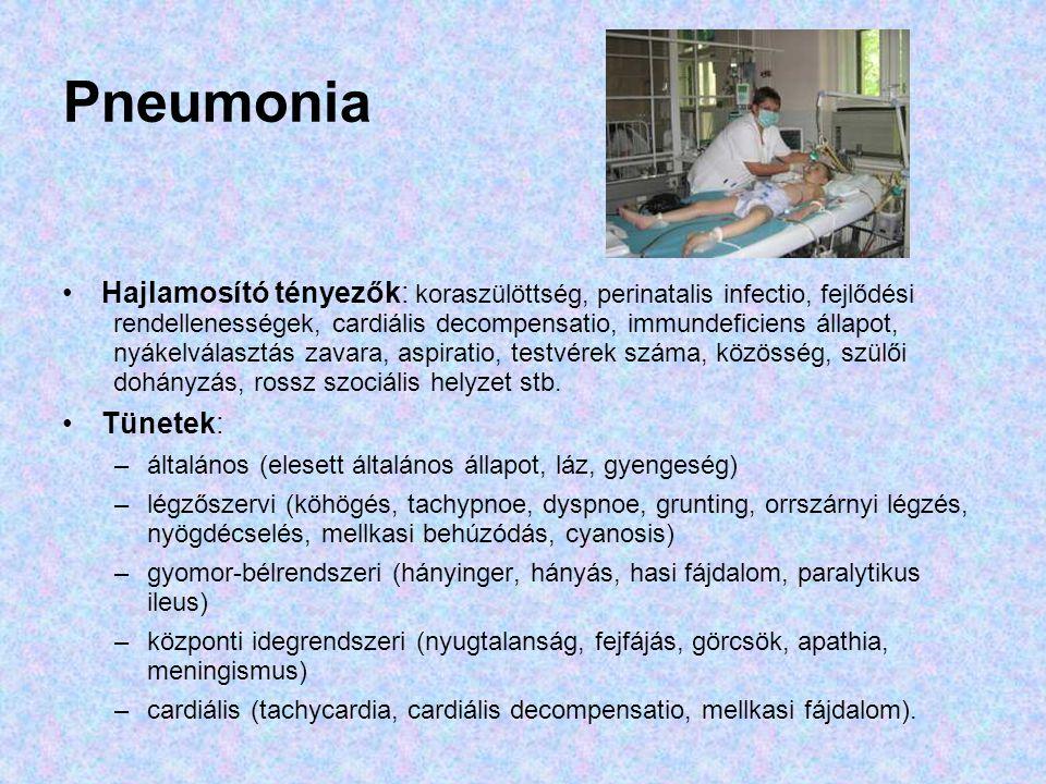 Pneumonia Diagnózis: –fizikális vizsgálat: tüdő fölött crepitatio, gyengült légzés, szörtyzörejek, pleuritises dörzszörejek, kopogtatás –képalkotó: mellkasröntgen, ultrahang, CT, MRI –laborvizsgálat: vérkép, quali, PCT, CRP, We, vérgáz, –tenyésztés: HC, mellűri punctatum, tracheaváladék, –antigén kimutatás: PCR, latexagglutinatio –gyorsteszt, speciális vizsgálat: BAL, tüdő biopszia Szövődmények: empyema, pleurális folyadékgyülem, sepsis, osteomyelitis, arthritis Kezelés: megfelelő antibiotikum, supportív terápia (oxygén, folyadék, táplálás), fizioterápia, mellkascsövezés, gépilélegeztetés Kórjóslat: teljes gyógyulás, maradványtünetek, szövődmények, pulmonológiai gondozás