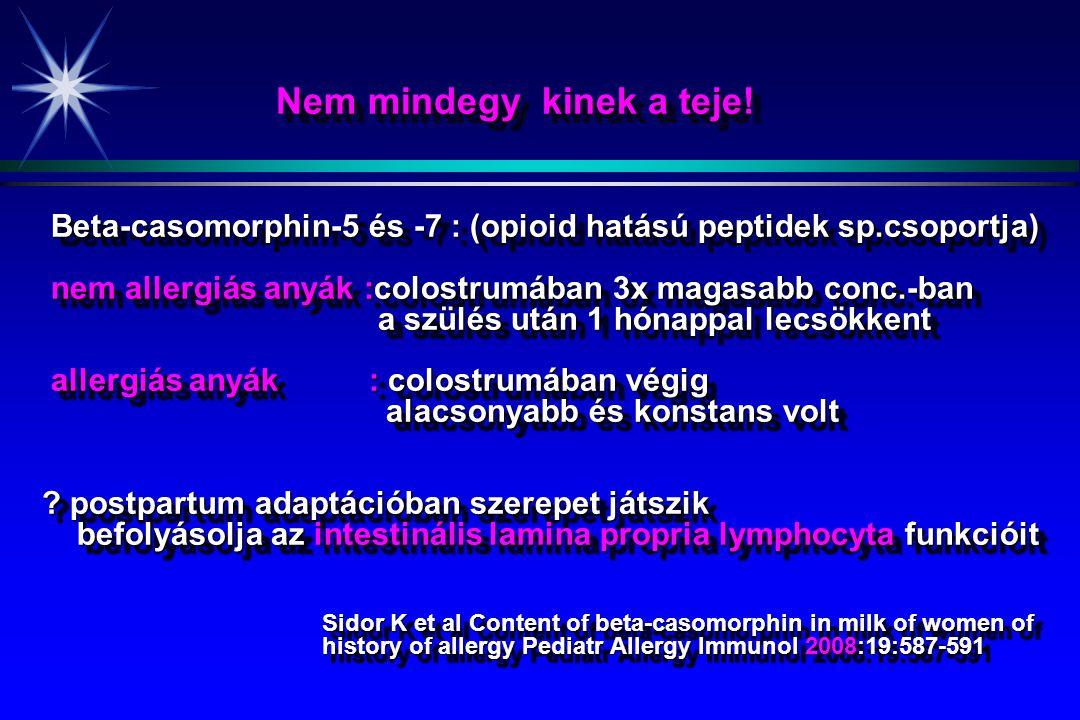 Nem mindegy kinek a teje! Nem mindegy kinek a teje! Beta-casomorphin-5 és -7 : (opioid hatású peptidek sp.csoportja) Beta-casomorphin-5 és -7 : (opioi
