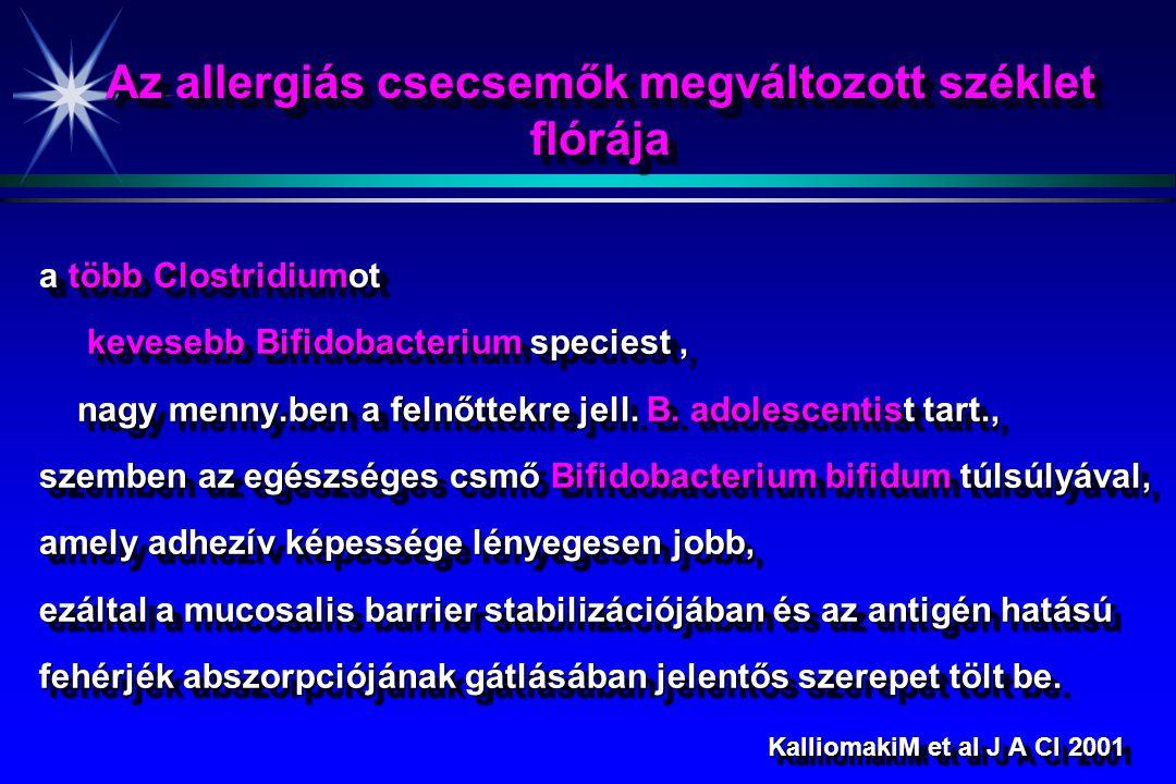 Az allergiás csecsemők megváltozott széklet flórája a több Clostridiumot kevesebb Bifidobacterium speciest, kevesebb Bifidobacterium speciest, nagy menny.ben a felnőttekre jell.