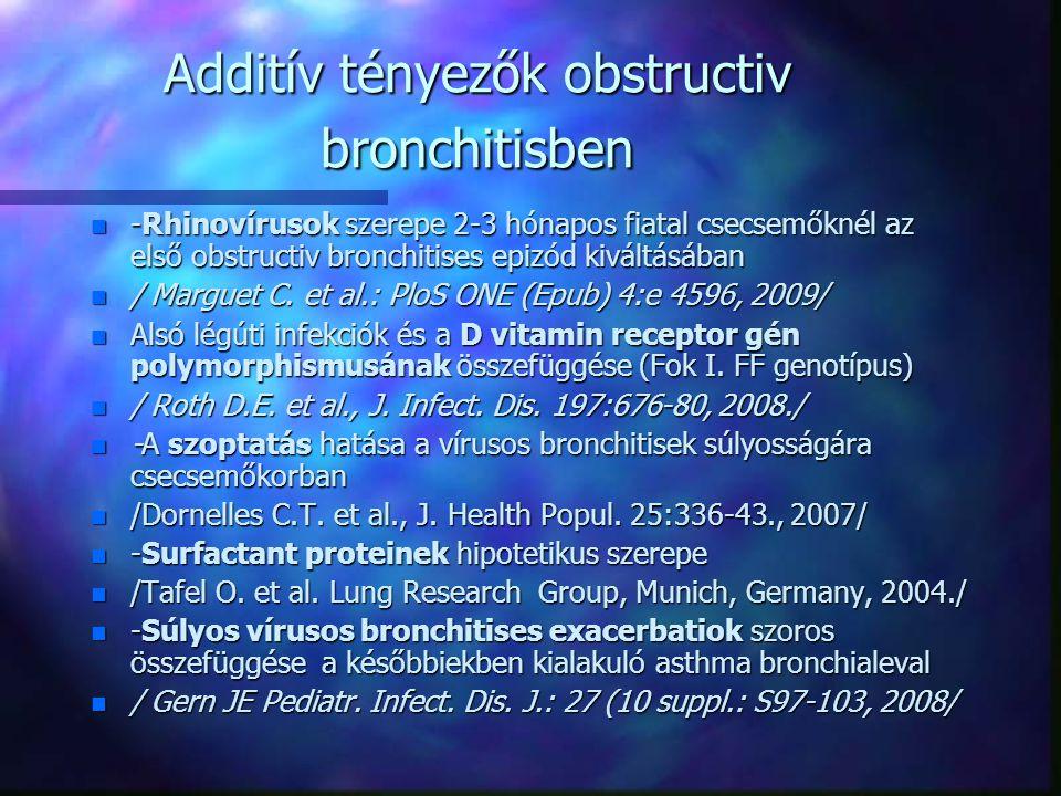 Additív tényezők obstructiv bronchitisben n -Rhinovírusok szerepe 2-3 hónapos fiatal csecsemőknél az első obstructiv bronchitises epizód kiváltásában n / Marguet C.