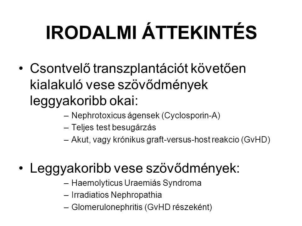 IRODALMI ÁTTEKINTÉS Csontvelő transzplantációt követően kialakuló vese szövődmények leggyakoribb okai: –Nephrotoxicus ágensek (Cyclosporin-A) –Teljes test besugárzás –Akut, vagy krónikus graft-versus-host reakcio (GvHD) Leggyakoribb vese szövődmények: –Haemolyticus Uraemiás Syndroma –Irradiatios Nephropathia –Glomerulonephritis (GvHD részeként)