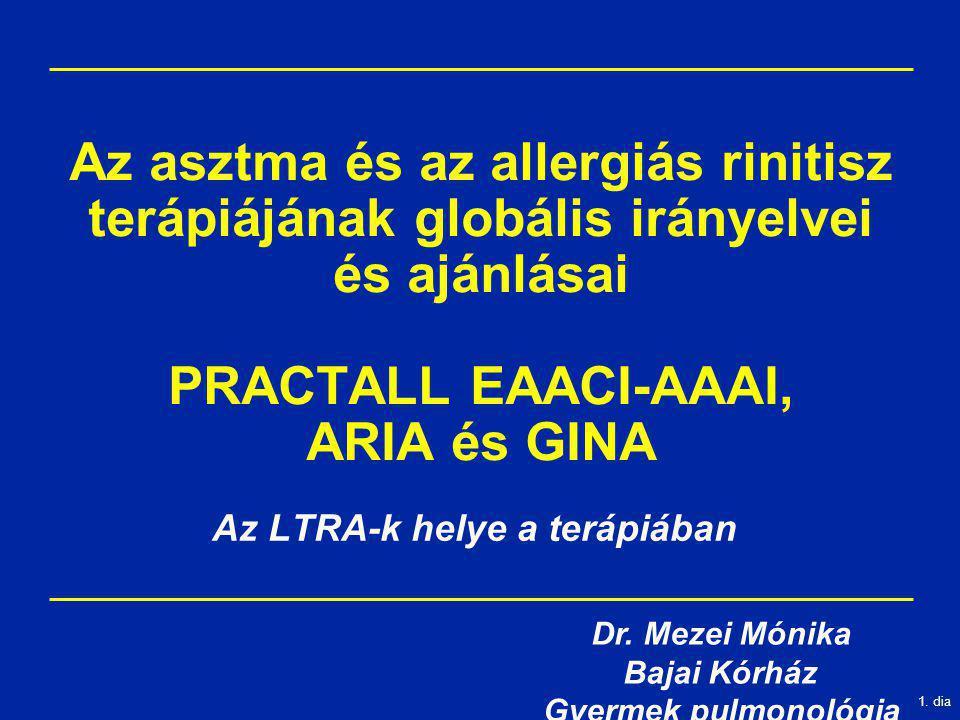 1. dia Az asztma és az allergiás rinitisz terápiájának globális irányelvei és ajánlásai PRACTALL EAACI-AAAI, ARIA és GINA Az LTRA-k helye a terápiában