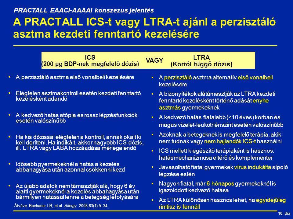 10. dia VAGY A PRACTALL ICS-t vagy LTRA-t ajánl a perzisztáló asztma kezdeti fenntartó kezelésére PRACTALL EAACI-AAAAI konszezus jelentés Átvéve: Bach