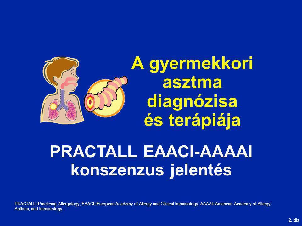 2. dia A gyermekkori asztma diagnózisa és terápiája PRACTALL EAACI-AAAAI konszenzus jelentés PRACTALL=Practicing Allergology; EAACI=European Academy o