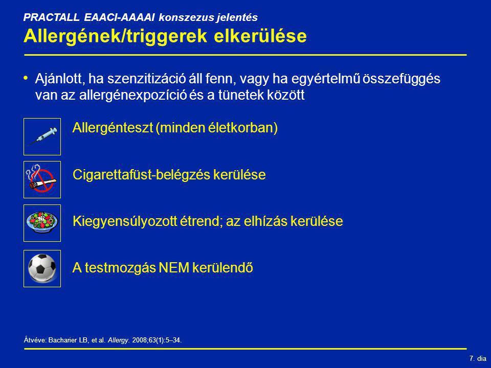 7. dia Allergének/triggerek elkerülése Ajánlott, ha szenzitizáció áll fenn, vagy ha egyértelmű összefüggés van az allergénexpozíció és a tünetek közöt