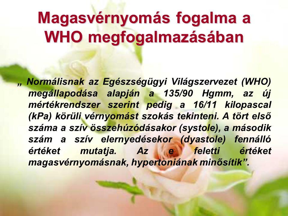 """Magasvérnyomás fogalma a WHO megfogalmazásában """" Normálisnak az Egészségügyi Világszervezet (WHO) megállapodása alapján a 135/90 Hgmm, az új mértékren"""