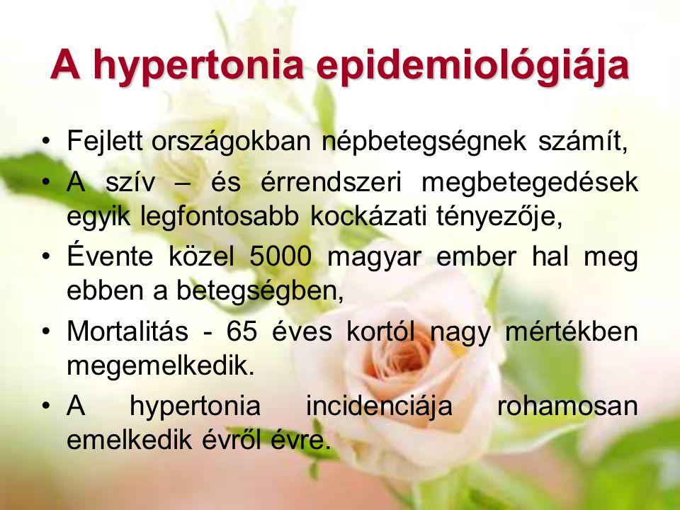 A hypertonia epidemiológiája Fejlett országokban népbetegségnek számít, A szív – és érrendszeri megbetegedések egyik legfontosabb kockázati tényezője,