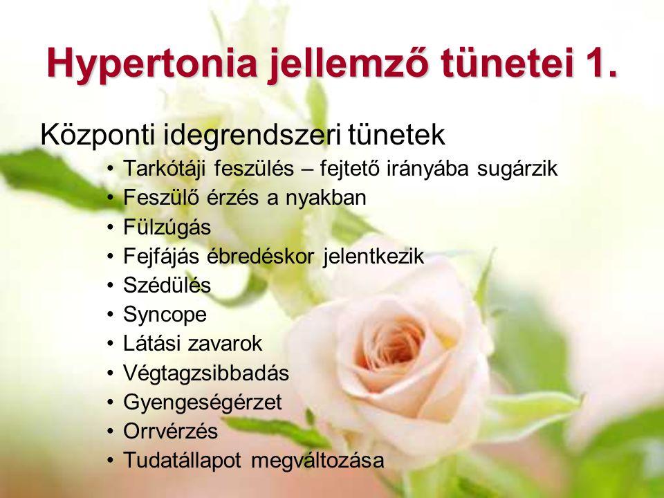 Hypertonia jellemző tünetei 1. Központi idegrendszeri tünetek Tarkótáji feszülés – fejtető irányába sugárzik Feszülő érzés a nyakban Fülzúgás Fejfájás