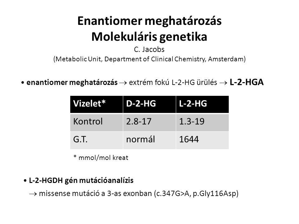 L-2-HGDH gén mutációanalízis  missense mutáció a 3-as exonban (c.347G>A, p.Gly116Asp) Enantiomer meghatározás Molekuláris genetika C.