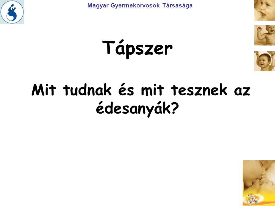 Magyar Gyermekorvosok Társasága Tápszer Mit tudnak és mit tesznek az édesanyák?