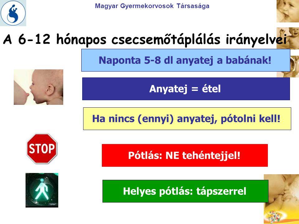 Magyar Gyermekorvosok Társasága A 6-12 hónapos csecsemőtáplálás irányelvei Naponta 5-8 dl anyatej a babának!Anyatej = ételHa nincs (ennyi) anyatej, pó