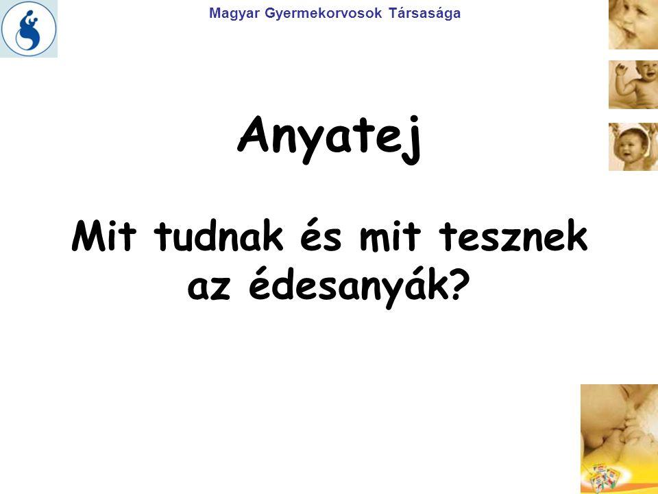 Magyar Gyermekorvosok Társasága Anyatej Mit tudnak és mit tesznek az édesanyák?