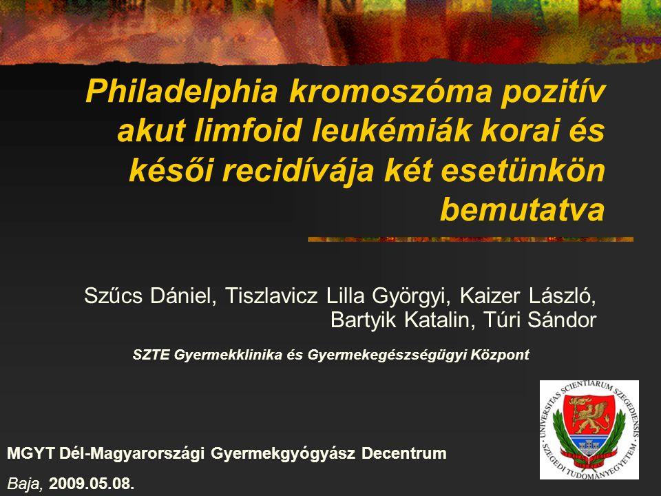 Philadelphia kromoszóma pozitív akut limfoid leukémiák korai és késői recidívája két esetünkön bemutatva Szűcs Dániel, Tiszlavicz Lilla Györgyi, Kaize