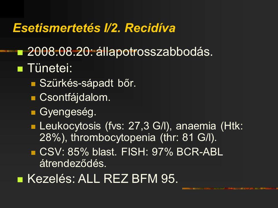 Esetismertetés I/2. Recidíva 2008.08.20: állapotrosszabbodás. Tünetei: Szürkés-sápadt bőr. Csontfájdalom. Gyengeség. Leukocytosis (fvs: 27,3 G/l), ana