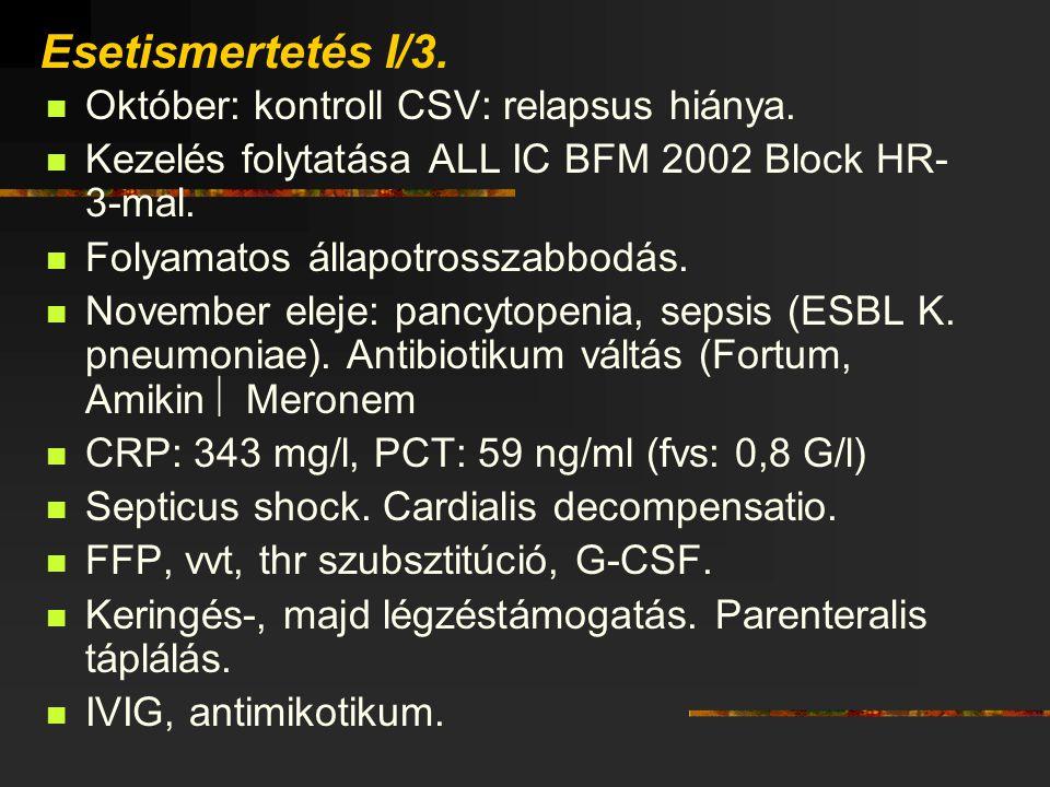 Esetismertetés I/3. Október: kontroll CSV: relapsus hiánya. Kezelés folytatása ALL IC BFM 2002 Block HR- 3-mal. Folyamatos állapotrosszabbodás. Novemb
