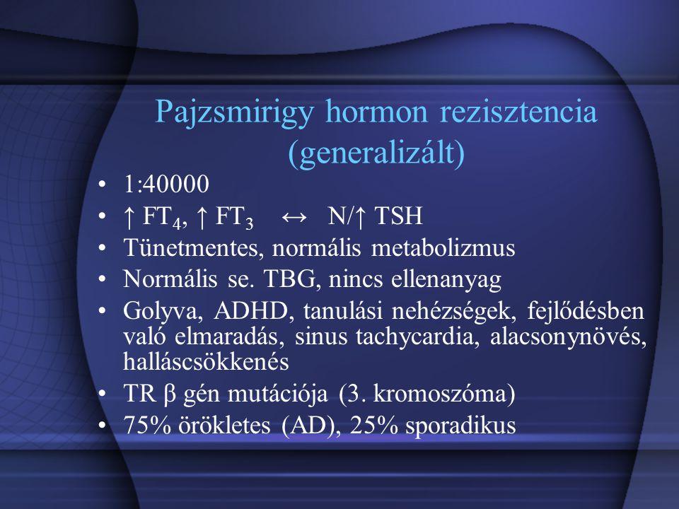 Pajzsmirigy hormon rezisztencia (generalizált) 1:40000 ↑ FT 4, ↑ FT 3 ↔ N/↑ TSH Tünetmentes, normális metabolizmus Normális se. TBG, nincs ellenanyag