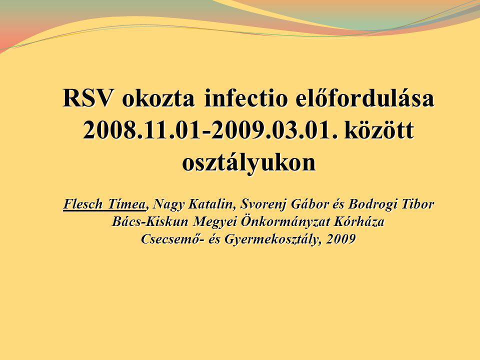 RSV okozta infectio előfordulása 2008.11.01-2009.03.01. között osztályukon Flesch Tímea, Nagy Katalin, Svorenj Gábor és Bodrogi Tibor Bács-Kiskun Megy