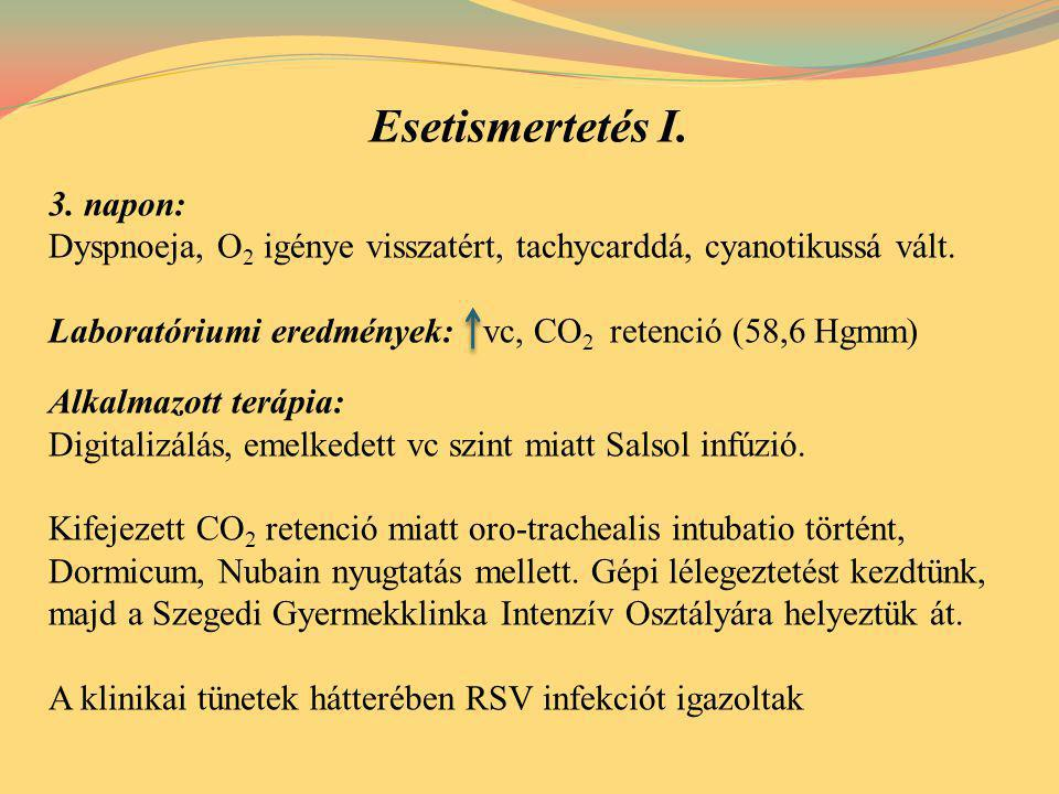 Esetismertetés I. 3. napon: Dyspnoeja, O 2 igénye visszatért, tachycarddá, cyanotikussá vált. Laboratóriumi eredmények: vc, CO 2 retenció (58,6 Hgmm)