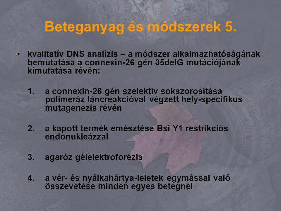 Beteganyag és módszerek 5. kvalitatív DNS analízis – a módszer alkalmazhatóságának bemutatása a connexin-26 gén 35delG mutációjának kimutatása révén: