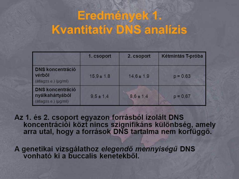 Eredmények 1. Kvantitatív DNS analízis Az 1. és 2. csoport egyazon forrásból izolált DNS koncentrációi közt nincs szignifikáns különbség, amely arra u