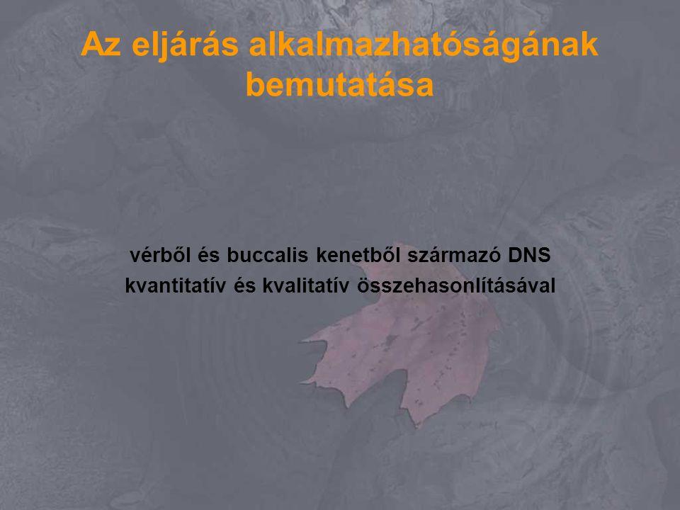Az eljárás alkalmazhatóságának bemutatása vérből és buccalis kenetből származó DNS kvantitatív és kvalitatív összehasonlításával