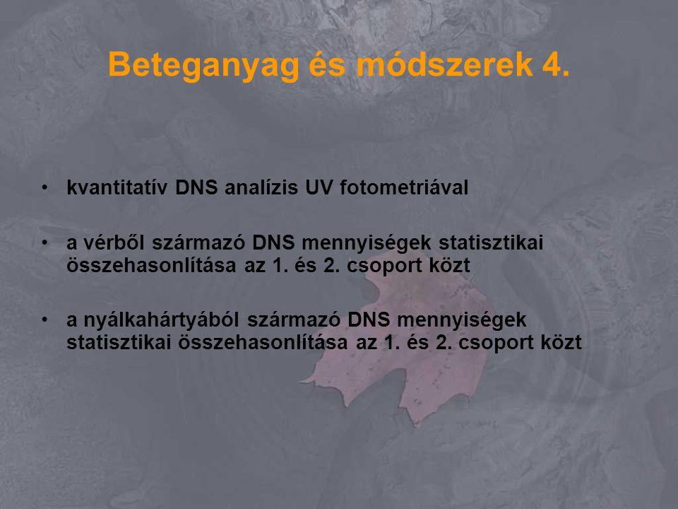 Beteganyag és módszerek 4. kvantitatív DNS analízis UV fotometriával a vérből származó DNS mennyiségek statisztikai összehasonlítása az 1. és 2. csopo