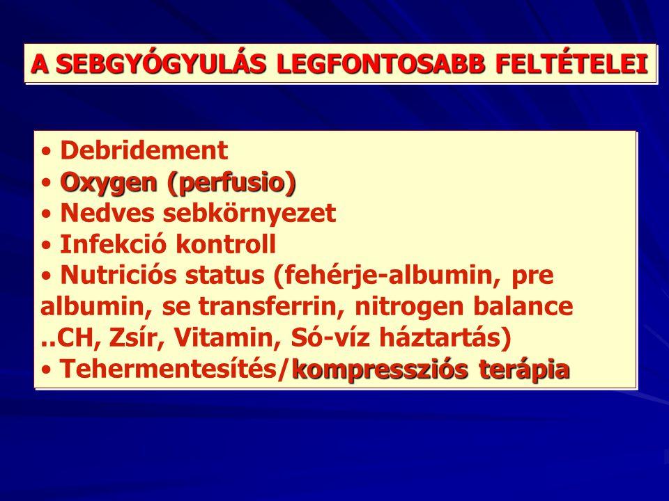A SEBGYÓGYULÁS LEGFONTOSABB FELTÉTELEI Debridement Oxygen (perfusio) Nedves sebkörnyezet Infekció kontroll Nutriciós status (fehérje-albumin, pre albu
