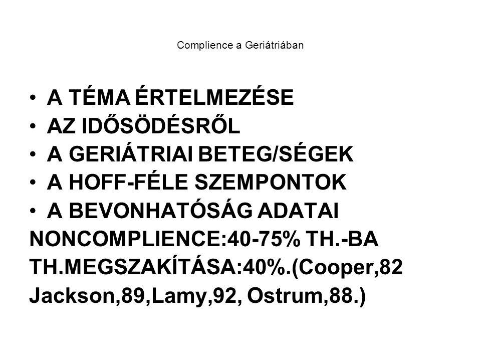 Complience a Geriátriában A TÉMA ÉRTELMEZÉSE AZ IDŐSÖDÉSRŐL A GERIÁTRIAI BETEG/SÉGEK A HOFF-FÉLE SZEMPONTOK A BEVONHATÓSÁG ADATAI NONCOMPLIENCE:40-75% TH.-BA TH.MEGSZAKÍTÁSA:40%.(Cooper,82 Jackson,89,Lamy,92, Ostrum,88.)