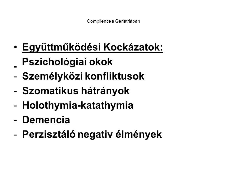 Complience a Geriátriában Együttműködési Kockázatok: Pszichológiai okok -Személyközi konfliktusok -Szomatikus hátrányok -Holothymia-katathymia -Demencia -Perzisztáló negativ élmények