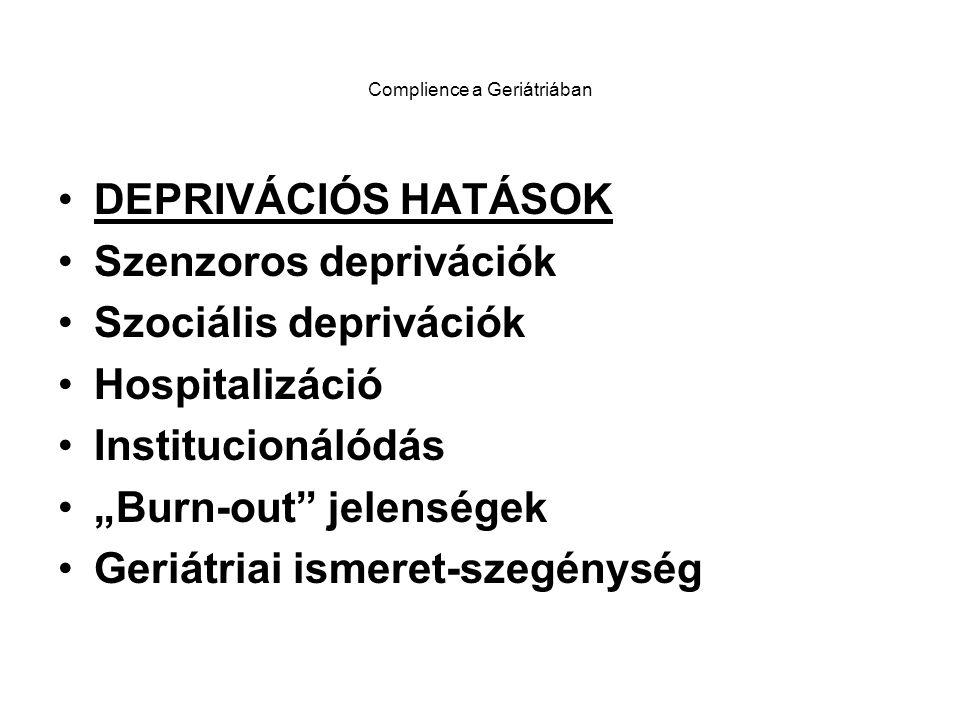 """Complience a geriátriában SZEMÉLYISÉGSTRUKTURÁLIS MINTÁZATOK MÉRHETŐSÉGE ÉS JELLEGZETESSÉGEI : (MMPI,- Bregelmann,- Taylor Tesztek) Pszichoszomatikus """"V és Affectemocionális """"D konfigurációk mint """"Személyiség-markerek"""