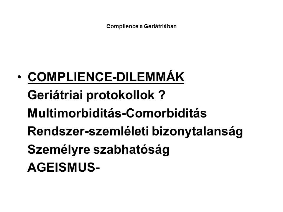 Complience a Geriátriában COMPLIENCE-DILEMMÁK Geriátriai protokollok .