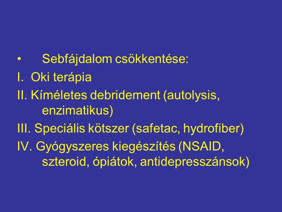 Sebfájdalom csökkentése: I.Oki terápia II. Kíméletes debridement (autolysis, enzimatikus) III.