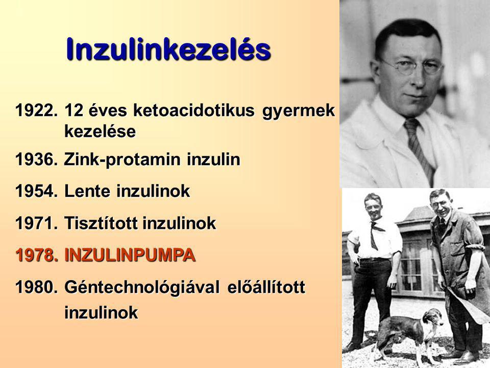 Inzulinkezelés 1922. 12 éves ketoacidotikus gyermek kezelése kezelése 1936.