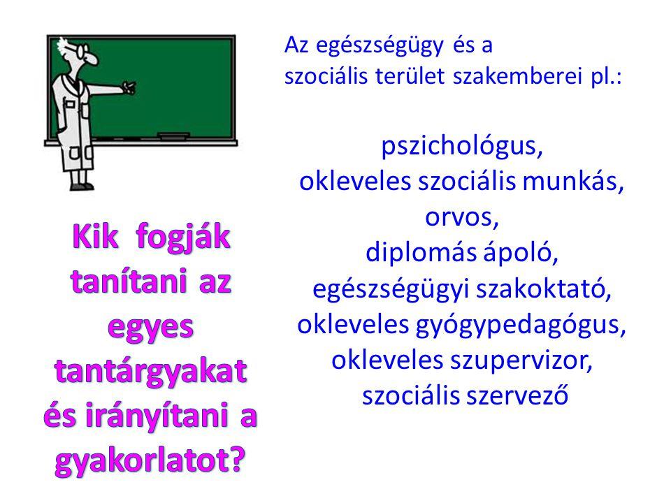 Az egészségügy és a szociális terület szakemberei pl.: pszichológus, okleveles szociális munkás, orvos, diplomás ápoló, egészségügyi szakoktató, oklev