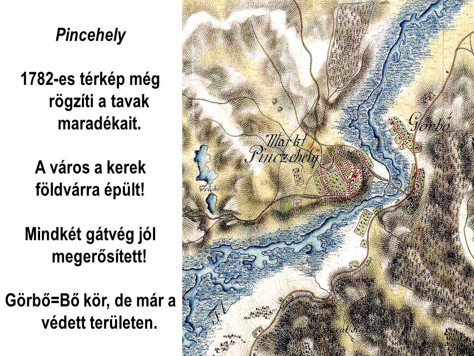 Pincehely 1782-es térkép még rögzíti a tavak maradékait.