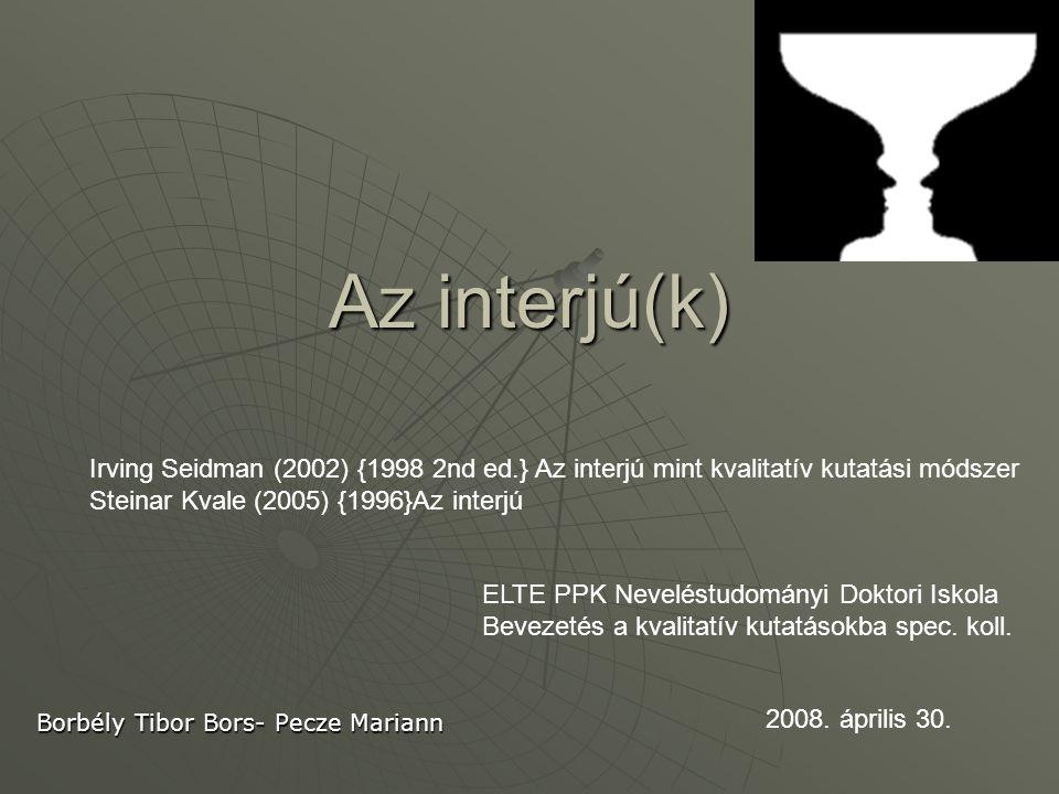 """Interjúk  Spontán  Strukturált interjú  Kevert típusú  Életútinterjú  Mélyinterjú  Csoportos interjú (Héra-Ligeti (2005) Módszertan, Osiris FókuszcsoportFókuszcsoport  Síklaki István (2006) Vélemények mélyén, Kossuth OM felsőoktatási tankönyv  Vicsek Lilla (2006) Fókuszcsoport, Osiris A """"valódi jelentés kutatás …""""Honnan tudom, hogy valóban megértetted, hogy a beszélő valójában mit is ért mondanivalója alatt."""